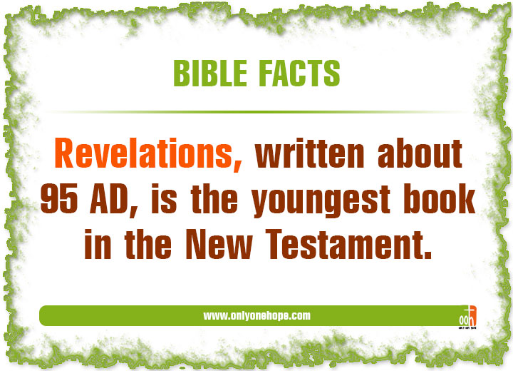 Revelations, written about 95 AD, is the youngest book in the New Testament.