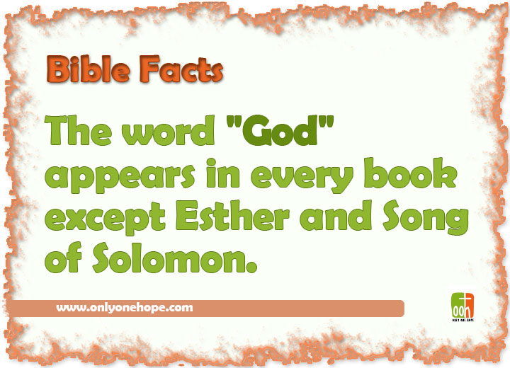 "The word ""God"" appears in every book except Esther and Song of Solomon."