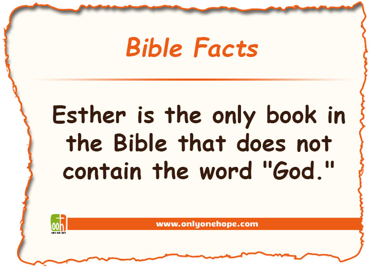 Esther is the only book in the Bible that does not contain the word
