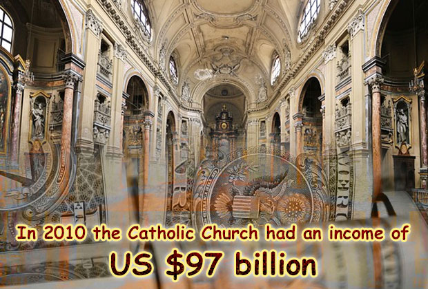 In 2010 the Catholic Church had an income of US $97 billion