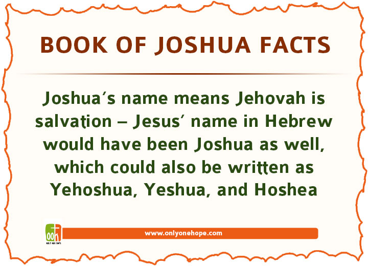 Joshua's name means Jehovah is salvation – Jesus' name in Hebrew would have been Joshua as well, which could also be written as Yehoshua, Yeshua, and Hoshea