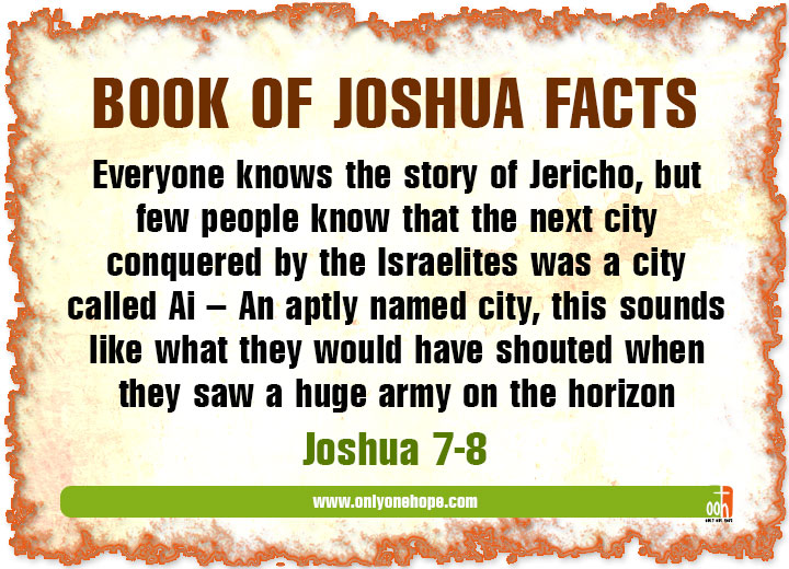 Everyone knows the story of Jericho, but few people know that the next city conquered by the Israelites was a city called Ai – An aptly named city, this sounds like what they would have shouted when they saw a huge army on the horizon