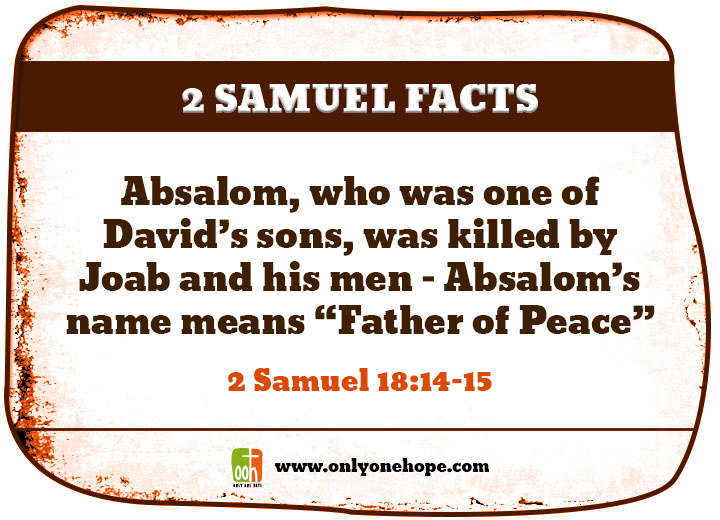 "Absalom, who was one of David's sons, was killed by Joab and his men – Absalom's name means ""Father of Peace"""