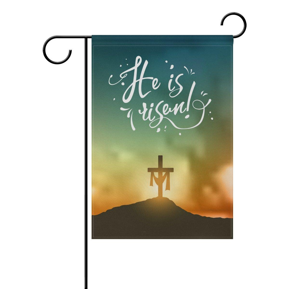 ALAZA Double Sided Easter Cross on Sunrise Scene in Mountain Polyester Garden Flag Banner