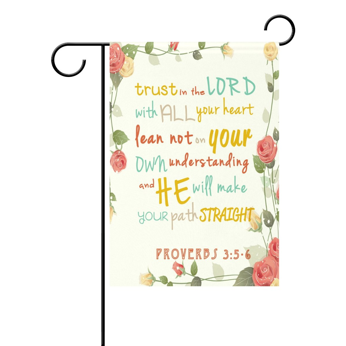 ALAZA Duble Sided Bible Verses Rose Love Truth Lord Polyester Garden Flag Banner