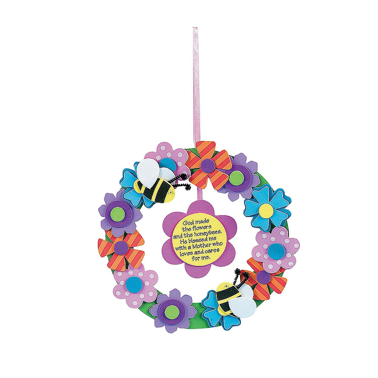 Fun-Express--Foam-Flower-Wreath-for-Mom-Craft-Kit-for-Mother-s-Day--Craft-Kits--Hanging-Decor-Craft-Kits--Wreath-Craft-Kits--Mother-s-Day--12-Pieces